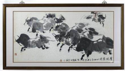劉济荣 (b. 1931)广阔前程 镜 框 Liu Jirong Running Bulls Mounted and Framed, Ink on Paper 高 (Height): 68cm 长 (Length) :133cm