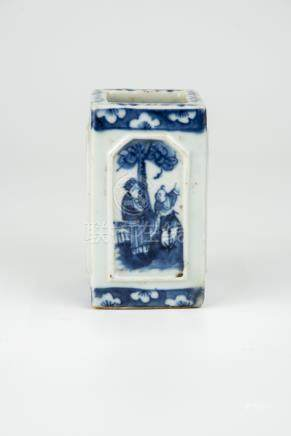 清光绪四方青花人物笔筒Qing, Guangxu, Blue and White Square Brush Pot 长(Length):6cm 宽(Width):6cm 高(Height):11.5cm