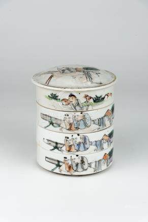 民国 浅绛人物层碟Republic Period, Pastel Enameled Tiered Plates with Cover 高(Height):14cm