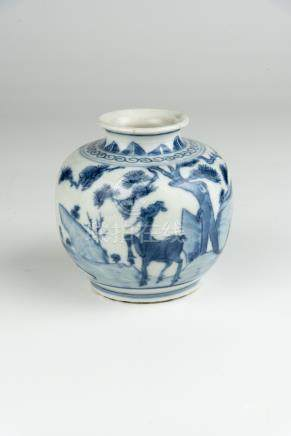明 青花松露小罐Ming, Blue and White Pine Jar 高(Height):11cm