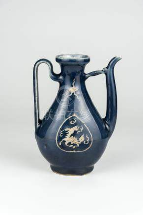 明 祭蓝釉开光堆白怪兽图案执壶Ming, Sacrificial Blue Ewer with Windows of Beast in White Reserve 高(Height):18.5cm