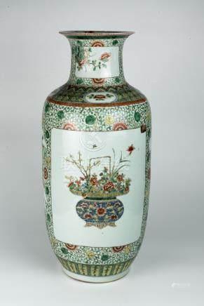 光绪五彩花篮灯笼瓶Guangxu Wucai Lantern Vase with Floral Basket 高(Height):61cm