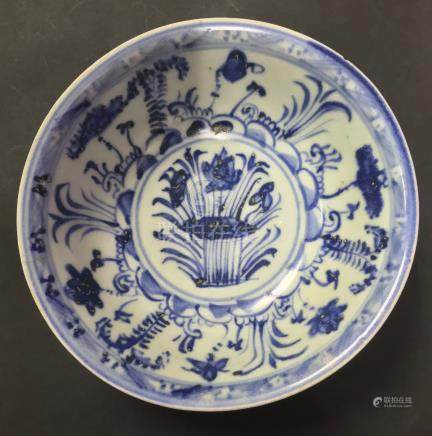 明代青花碗Ming Dynasty Blue and white Bowl 高(Height):6cm 直径 (Diameter):14.5cm
