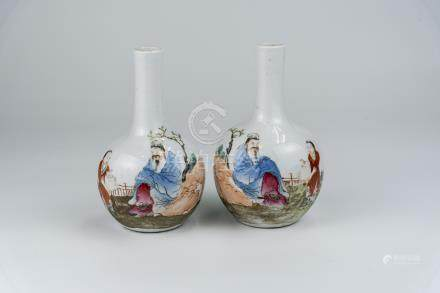 粉彩人物对瓶  洪宪年制款A Pair of Famille-rose Vase Hongxian Mark 高(Height):26.5cm