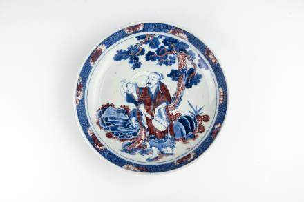 清 青花釉里红老者童子松树图盘Qing, Copper-red with Underglazed Blue Plate with Figures 高(Height):4.5cm 宽(Width):25cm