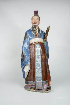 五六十年代人物 屈原Fifties, A Pottery Figure of Qu Yuan, Poet 高(Height):63cm