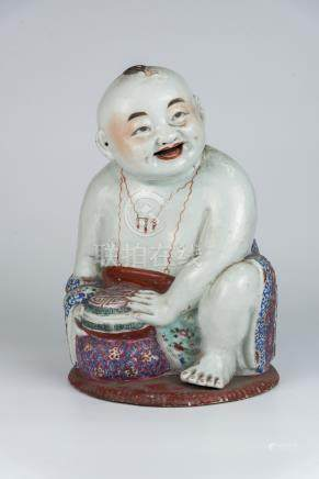 民国 粉彩童子Republic Period, Famille-rose Child Figure 高(Height):29cm