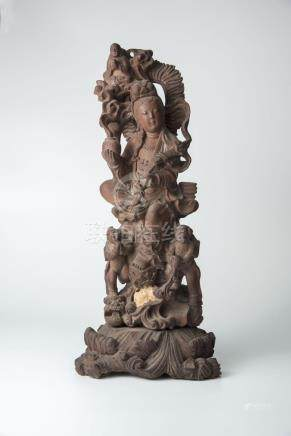 民国 黄杨木童子拜观音Republic Period, Boxwood Carved Guanyin with Child Accolade 高(Height):45cm