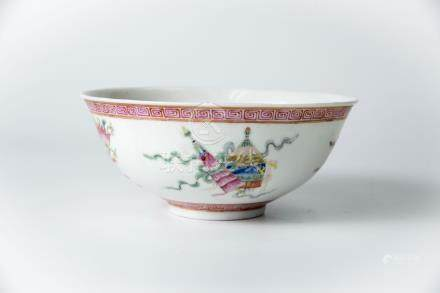 瓷碗 (庆修堂)A Painted Floral Bowl, Qing Xi Tang Mark 高(Height):7cm