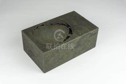 清末绿端兰亭刻山水人物砚Qing Dynasty, Green Ink Stone Carved with Figural Landscape 长(Length):25cm 宽(Width):15cm 高(Height):9.5cm