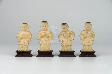 民国象牙四喜童子Republic Period, Four Carved Ivory Boys 高(Height):9cm 重(Weight):146