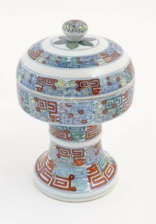 A Chinese Doucai altar vessel and cover, dou,