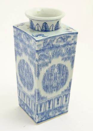 A Chinese blue and white Cong shaped vase,