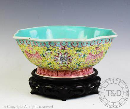 A Chinese porcelain water bowl and stand, Qianlong seal mark, 20th century,