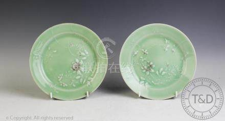 A pair of Japanese porcelain celadon plates,