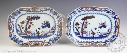 A pair of 18th century Chinese export porcelain meat plates,