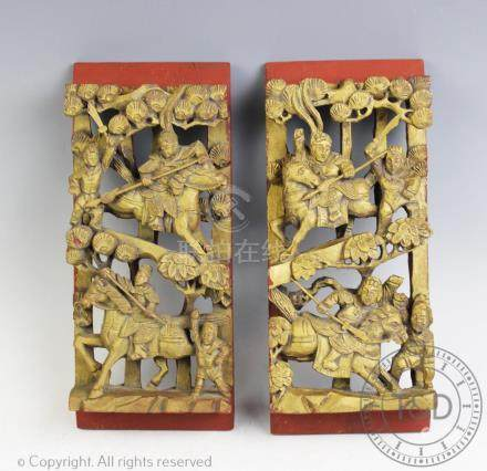 A pair of Chinese carved wood panels,