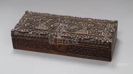 An Indian carved sandalwood glove box length 30cm