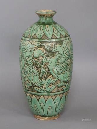 A Chinese Cizhou type green glazed 'mandarin duck' vase height 31cm