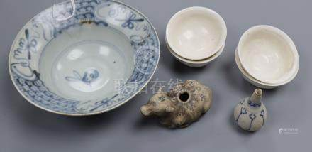 A Chinese Teksing blue and white bowl, an Hoi an hoard miniature vase, four blanc de chine small