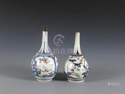 Two Imari bottle vases