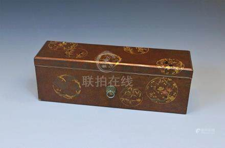 A Japanese lacquered rectangular box
