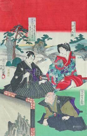 Original woodblock Print, by Chikanobu Yoshu (1838 - 1912)