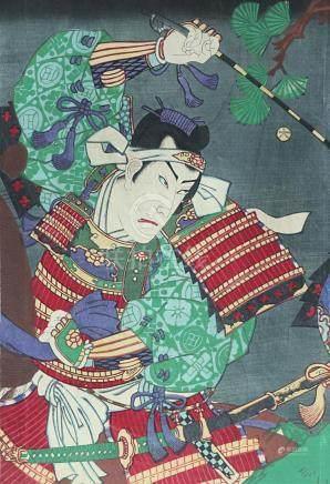 Original woodblock print, by Chikashige Morikawa (1869- 1881