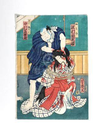 Original woodblock print, by Yoshiiku Utagawa (1833-1904)