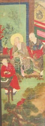 """CHINE, Epoque MING - """" Maître et élève dans un intérieur """"   Peinture sur soie."""