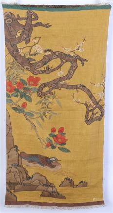 CHINESE EMBROIDERY KESI TAPESTRY OF DUCK UNDER TREE