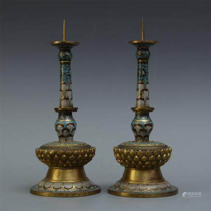 PAIR OF CHINESE GILT BRONZE ENAMEL LOTUS CANDLE HOLDERS
