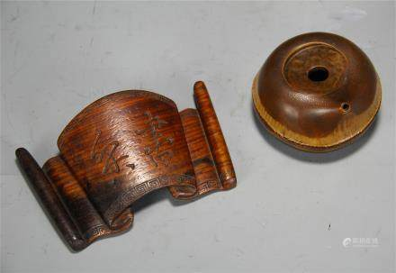 CHINESE BAMBOO WATER DROPPER AND PAPER WEIGHT