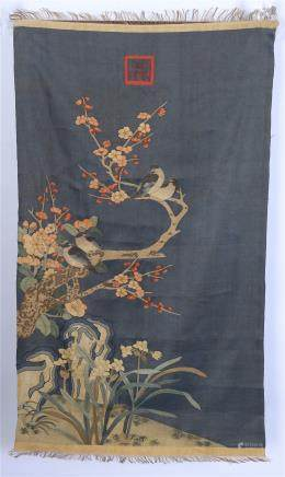CHINESE EMBROIDERY KESI TAPESTRY OF FLOWER AND ROCK
