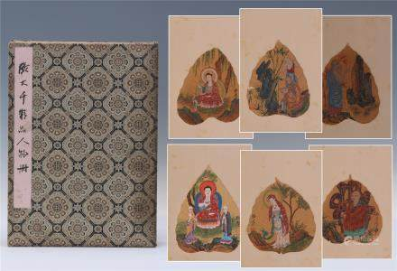 EIGHT PAGE OF CHINESE ALBUM PAINTING OF BUDDHA IN LEAF