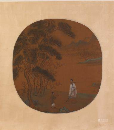 CHINESE ROUND FAN PAINTING OF MEN UNDER PINE