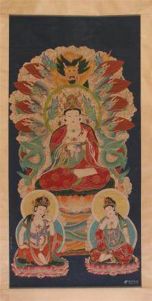 CHINESE SCROLL PAINTING OF SEATED GUANYIN