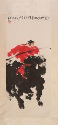 CHINESE SCROLL PAINTING OF MAN ON HORSE