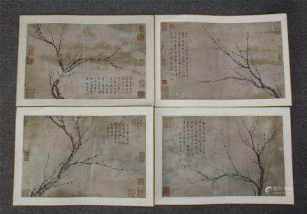 FOUR PAGES OF CHINESE ALBUM PAINTING OF PLUM BLOSSOMMINGS