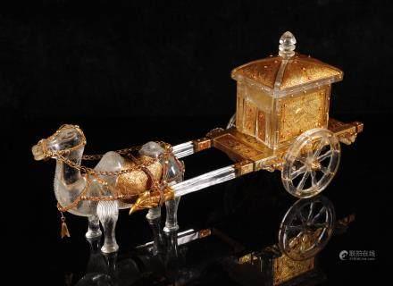 辽代 银鎏金水晶骆驼车