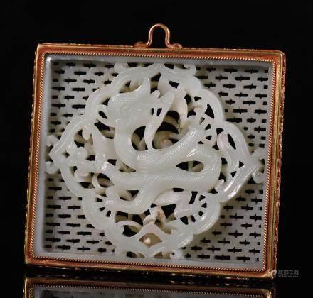 辽代 银鎏金包和田玉龙纹玉饰
