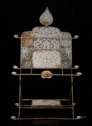 辽代 铜鎏金和田玉龙纹镜架