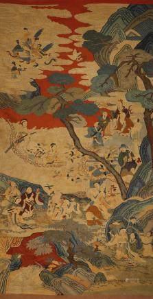 清代 缂丝红地群仙祝寿图