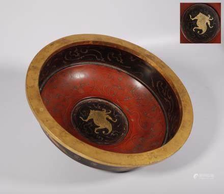 汉代 鎏金彩绘漆盆