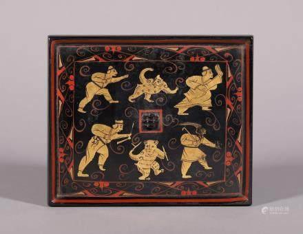汉代 描金彩绘人物熊纹故事方镜