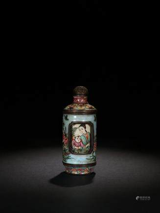 ENAMEL DECORATED BRONZE REVOLVING SNUFF BOTTLE
