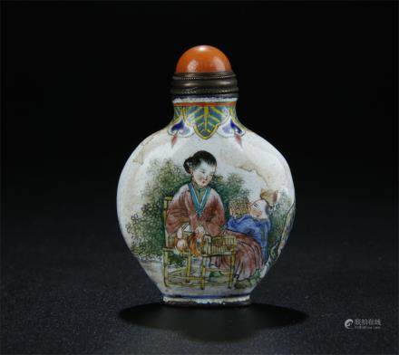 CHINESE COPPER ENAMELLED SNUFF BOTTLE