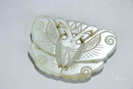 WHITE JADE CARVED BUTTERFLY