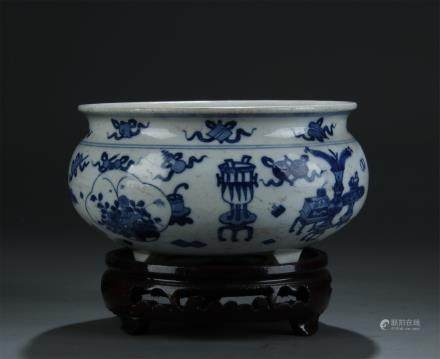 BLUE AND WHITE TRIPOD PORCELAIN CENSER ON STAND