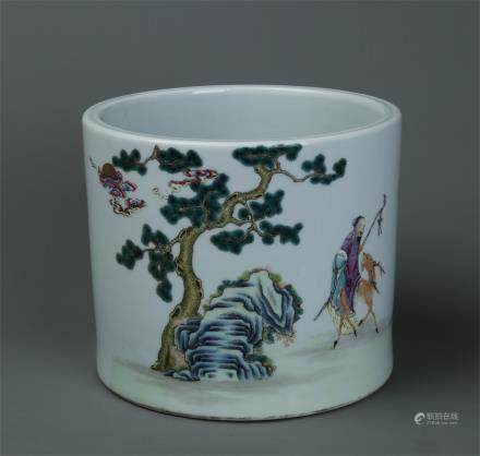 FAMILLE ROSE CYLINDRICAL PORCELAIN BRUSH POT